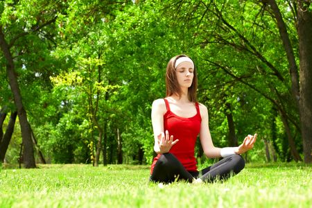 Young woman practice yoga in natural environment. Stock Photo - 4832085