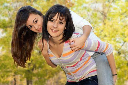 Teenager girls best friends enjoyment in nature. Stock Photo - 5983261