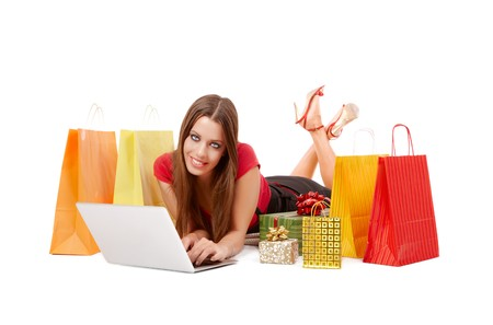 ebuy: woman shopping over internet