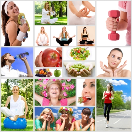 Healthy lifestyle collage. photo