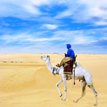 Bedouin on camel going through desert Sahara. photo