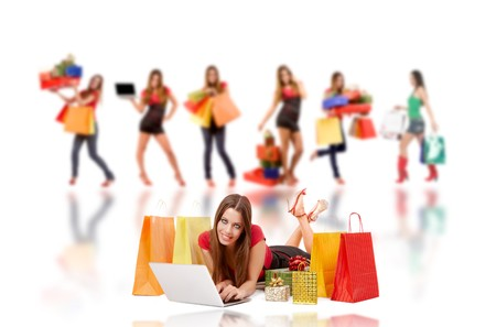 sell online: Attractive woman shopping over internet.