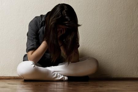 Depressed teenage girl. Standard-Bild
