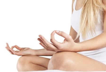 Closeup of woman body in yoga pose. Stock Photo