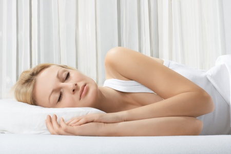 Portrait of beautiful woman sleeping. photo