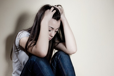 Closeup portrait of depressed teenager girl. Stock Photo - 8548745