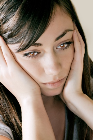 Closeup portrait of depressed teenager girl. Stock Photo - 8548759