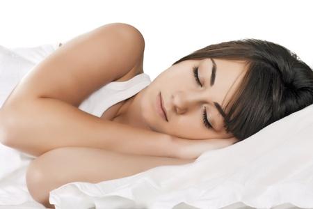 Portrait of beautiful woman sleeping. photo