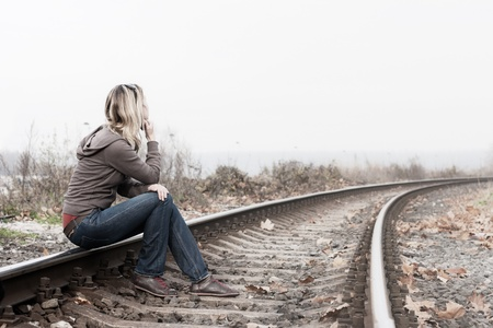 sad lonely: Depressed woman.