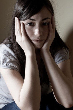 Closeup portrait of depressed teenager girl. Stock Photo - 8658515