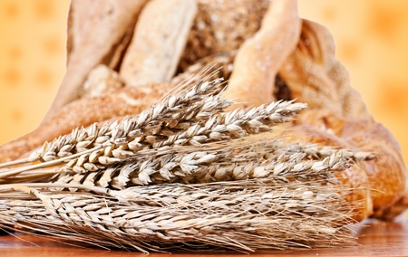 Fresh bakery products and wheat. photo
