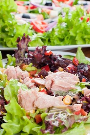 Healthy fresh salad with tuna.