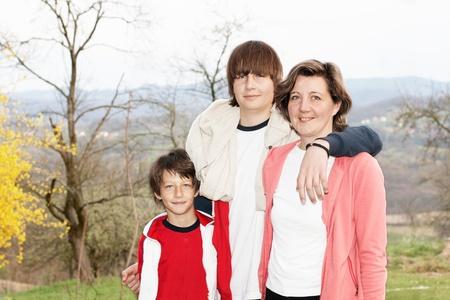 Portrait of happy family outdoors. photo