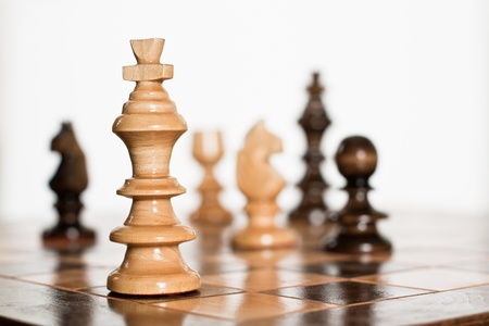 Chess game figure on board.