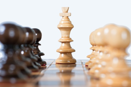 Chess game figure set on the board.