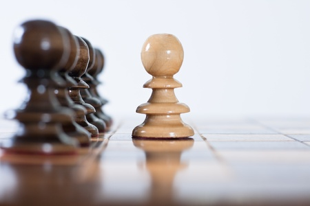 Chess game figure pawn set on the board. Stock Photo - 9087051