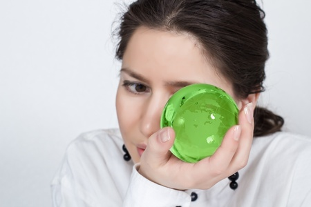 Young  woman take cares about planet  photo