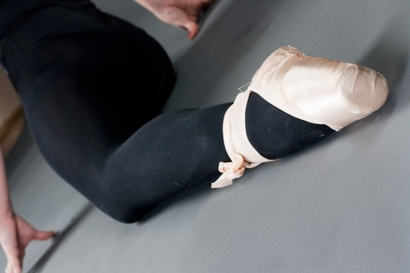 Closeup of woman legs with ballet slippers. photo