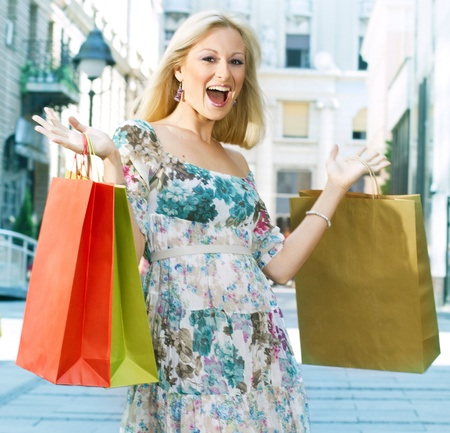 Excited shopping woman with bags. Stock Photo - 9667178