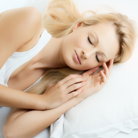 sleeping face: Portrait of beautiful woman sleeping. Stock Photo