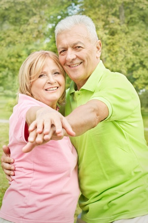 Portrait of happy old people outdoors. Stock Photo - 10570395