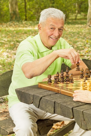 chess men: Elderly man playing chess in the park.