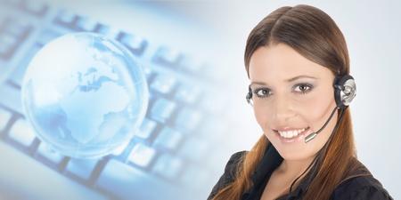Portrait of beautiful customer representative with headset. Stock Photo - 11966440