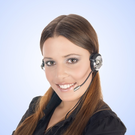 Friendly smiling customer operator with headset. Stock Photo - 11966446