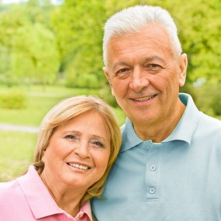 Portrait of romantic senior couple outdoors  photo