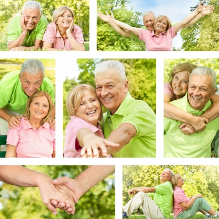 Happy senior couple outdoor collection. photo
