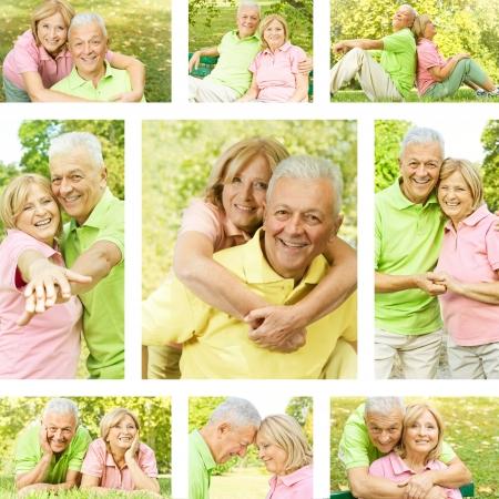Happy senior couple outdoor collection. photo
