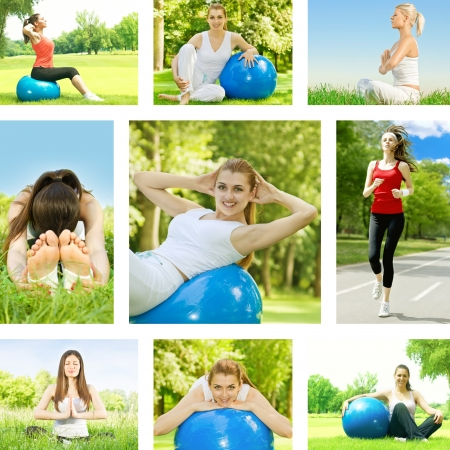 Healthy lifestyle fitness woman outdoor collection. photo