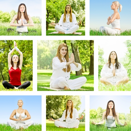 Yoga meditation woman outdoor collection. photo