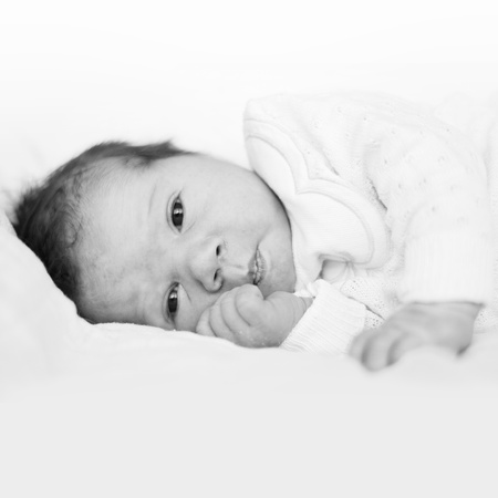 face of infant: Adorable BW portrait of newborn baby girl, looking at camera.