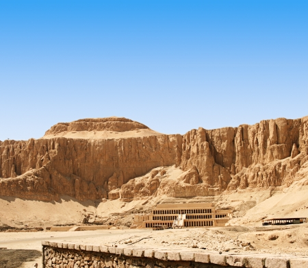 valley of the temples: The Mortuary Temple of Queen Hatshepsut, with clear blue sky for text