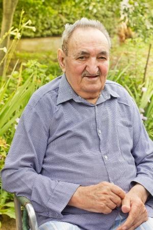 Portrait of senior man in backyard  Stock Photo - 14959163