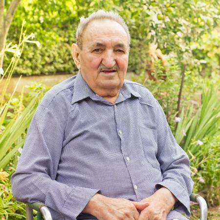 Portrait of senior man in backyard  Stock Photo - 14959165