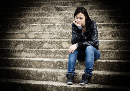 Depressed and lonely teenage girl, sad expression face. Stock Photo - 16126639