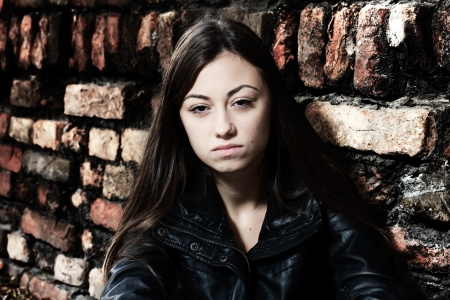 Depressed and lonely teenage girl, sad expression face. Stock Photo - 16126634