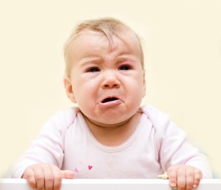 Portrait of crying baby girl.