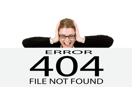 error: Frustrated business woman , page not found  Stock Photo