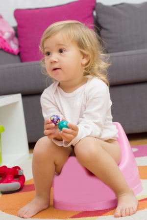 Little girl sitting on the potty at home. photo