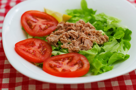 Tuna Fish Meat Over Green Salad with red tomato on plate.