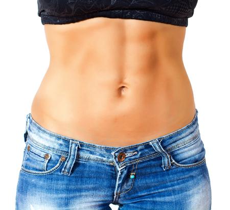 cintura perfecta: Mujer delgada con el perfecto cuerpo en forma saludable, mostrando su delgada cintura.
