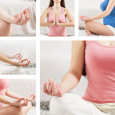 Yoga Meditation Woman Relaxing at home.Collage of meditating pose. photo