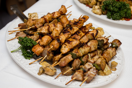 catering food: Catering Food, delicious pork kebabs. Stock Photo