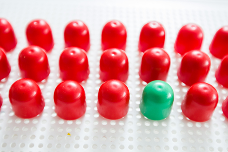 dissent: Different in a group, out of the crowd, difference concept. Stock Photo