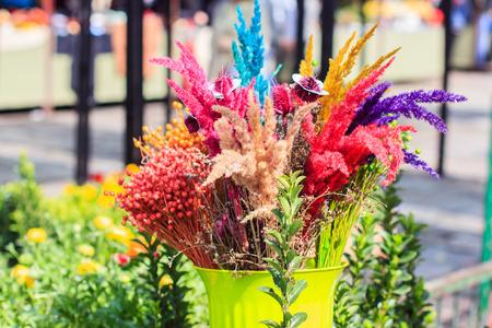 flores secas: colorido de la flor seca ramo de flores en el mercado.