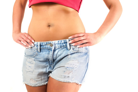 body shape: Slim Attractive Waist woman in jeans show thin body.