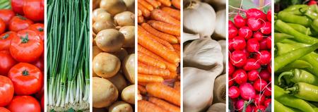 Verduras frescas, collage de la variedad de alimentos saludables en el mercado de los agricultores.